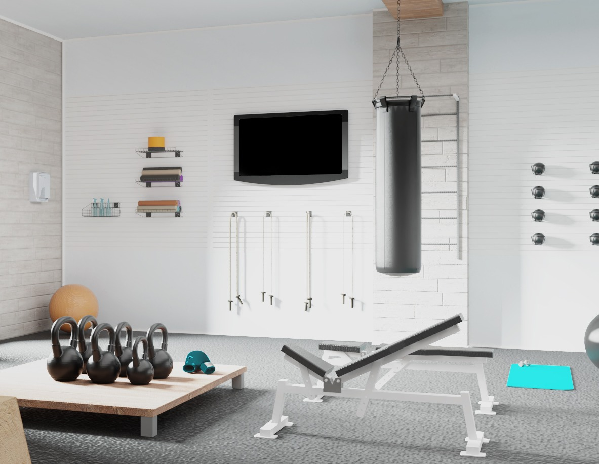 Garage Gym Layout - Slatwall for Equipment